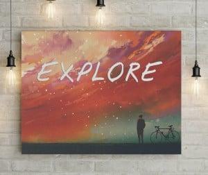 Explore inspirational text canvas
